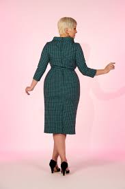 laura byrnes joanie dress in teal check retro style dress