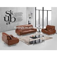 100 Latest Couches Stainless Steel Base Luxury High End Tan Leather Office Sofa
