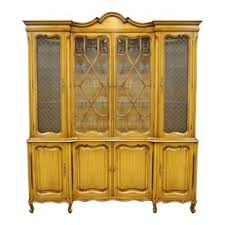 Country French Provincial Breakfront China Cabinet Walnut Fruitwood Bubble Glass