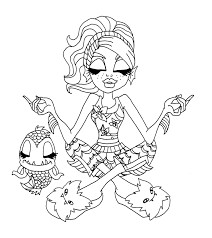 Monster High Lagoona Blue And Fish Relax Coloring Page
