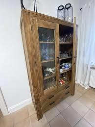 vitrine vertiko aus teak echtholz esszimmer möbel schrank
