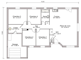 plan maison plain pied 6 chambres construction maison individuelle traditionnelle cannelle de 103 m2