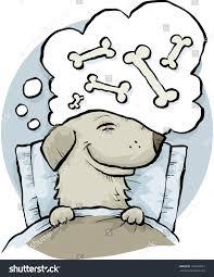 Cartoon Dog Dreaming Bones While Asleep Stock Vector