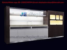 In Wall Display Cabinet By White Glossy Painting And Wood Laminate With Glass Shelves Retail Store Fixture