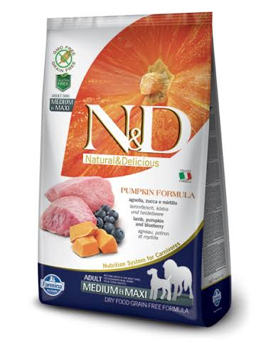 N and D Pumpkin Formula Grain Free Dog Food - Lamb, Pumpkin and Blueberry, Adult, Medium and Maxi Dog