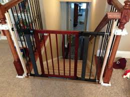 Baby Gate For Stairs With Banister And Wall Baby Gate For Stairs With Banister Ipirations Best Gates How To Install On Stairway Railing Banisters Without Model Staircase Ideas Bottom Of House Exterior And Interior Keep A Diy Chris Loves Julia Baby Gates For Top Of Stairs With Banisters Carkajanscom Top Latest Door Stair Design Wooden Rs Floral The Retractable Gate Regalo 2642 Or Walls Cardinal Special Child Safety Walmartcom Designs