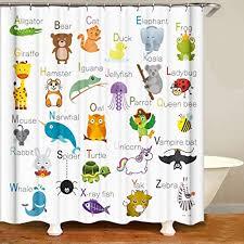 shocur duschvorhang süße und lustige tiere mit namen 182 9 x 182 9 cm kinder thema badvorhang aus polyesterstoff badezimmer deko set mit