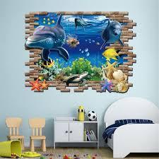 stickers muraux pour chambre 3d mer whale poisson stickers muraux pour chambre d enfants