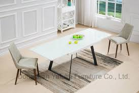 Modern Extension White Glass Dining Table Set Furniture