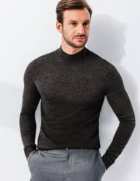 pull homme col montant uni mérinos brice