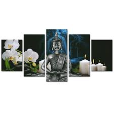 Amazoncom AMCARTBuddha Canvas Wall Art Orchid Flower And Candles