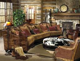 Rustic Living Room Furniture Country With Vintage Brown Sofa And Round Ottoman Also