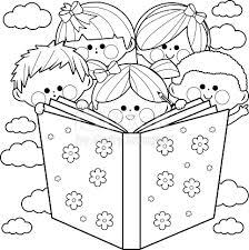 Children Reading A Book Coloring Page Stock Vector Art 597947244
