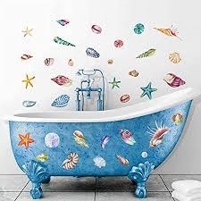 decalmile wandtattoo muscheln und seesterne wandaufkleber ozean strand wandsticker badezimmer duschraum wanddeko