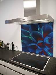 Bright Blue Flower Printed Glass Splashback From DIYSplashbackscouk