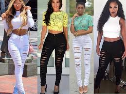 European And American Style Womens Hole Jeans Lady Skinny Denim Trousers Fashion High Waist Pencil Pants Women Female Stretch
