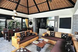 Tropical Themed Living Room Rustic With Bamboo Ceiling And Open Kitchen Furniture