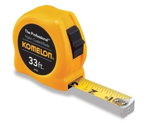 "Komelon 4933 the Professional Nylon Coated Steel Blade Tape Measure - 33' x 1"", Yellow Case"