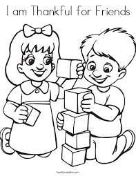 I Am Thankful For Friends Coloring Page