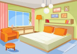 Vector Cartoon Illustration Interior Orange Blue Bedroom A Living Room With Bed