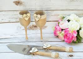 Toasting Glasses Flutes Rustic Cake Serving Set Personalized Knife Champagne Wedding