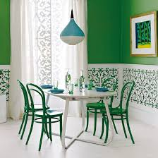 Green And White Fretwork Dining Room