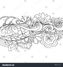 Boho Flower Pattern Template For Background Decoration Banner Card Coloring Book