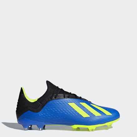 Adidas Men's X 18.2 FG Soccer Cleats - Blue/Solar Yellow/Black, USM7