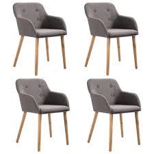 vidaxl esszimmerstühle 4 stk taupe stoff und massivholz eiche gitoparts