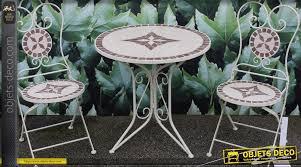 table ronde mosaique fer forge salon de jardin en mosaïques et fer forgé