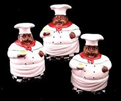 Kitchen Decor African American Guys Bistro Black Happy Chef 3pc Canister Set