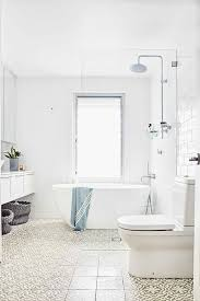 bathtub in shower with glass partition transitional bathroom