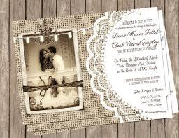 Burlap And Lace Rustic Wedding Invitation Printable Photo Templates