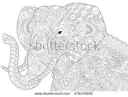 Stylized Elephant Isolated On White Background Freehand Sketch For Adult Anti Stress Coloring Book
