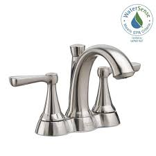 Brushed Nickel Bathroom Faucets Home Depot by American Standard Kempton 4 In Centerset 2 Handle Bathroom Faucet