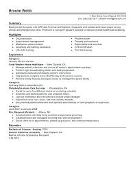 Elderly Caregiver Resume Traditional Sample Position For No
