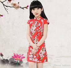 2018 Summer Children Boutique Clothing Girls Chinese Style Cheongsam Dresses Printing Floral Kids Prom Short Vintage Skirt From Ksdenim