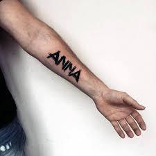 Anna Kids Name Mens Paint Brush Stroke Inner Forearm Tattoo