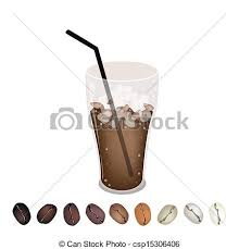 Row Of Beans Under A Glass Iced Coffee