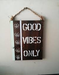 Good Vibes Only Peace Sign Anthropologie Urban Outfitters Decor Boho Hippie Wood