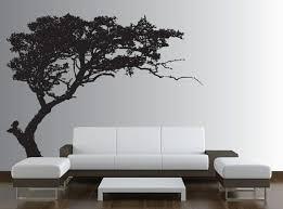 wand deko ideen fürs wohnzimmer toller baum an der weißen