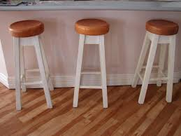 SMLF Elegant Breakfast Bar Stools For Your Kitchen Decor Idea White Wooden With Round Resin