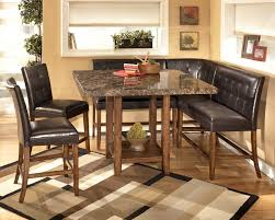 Rustic Cheap Kitchen Sets Design Black Leather Covered Seats Unique L Shapes Mosaic Square Table Modern