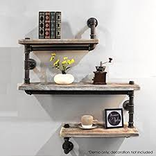 Industrial Pipe Shelving Bookshelf Rustic Modern Wood Ladder Wall Shelf 3 Tiers Wrought IronPipe Design