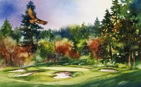 Pumpkin Ridge Golf Ghost Creek by Golf Course Art Peter X O U0027brien Watercolors