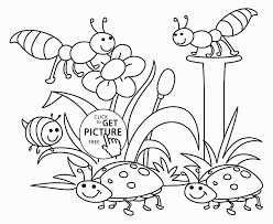 Happy Girl And Flowers Spring Drawings Easy Coloring Page For Kids Seasons