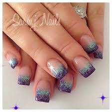 Purple silver glitter nail tips French tips ebook