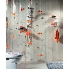 Spirella GOLDFISH ORANGE Shower Curtain CLEAR Plastic PVC 180 x