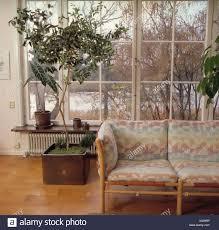 gemusterte kissen auf blasse holz sofa im wohnzimmer mit