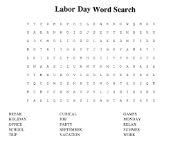 Labor Day Word Search Printable Coloring Pages